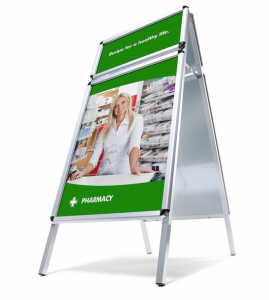 Kundenstopper mit Top-Rahmen